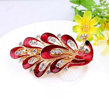 Beautiful Women Girl Cute Colorful Shinning Crystal Rhinestones Peacock Drop Big Hairpin Hair Clip Jewelry Hair Accessories