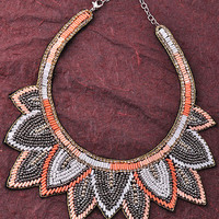 Boho Burst Necklace in Coral/Grey