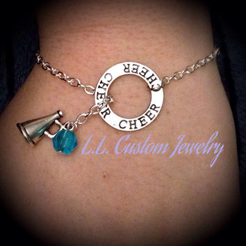 Cheer Lariat Bracelet or Anklet with Megaphone & Blue Bead - Customize with your Choice in Color of Bead and Charm
