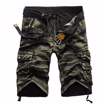 Camouflage Camo Cargo Shorts Men Mens Casual Shorts Male Loose Work Shorts Man Military Short Pants Plus Size