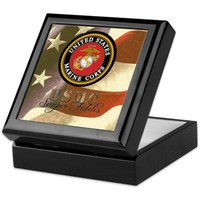 Patriotic Marine Corps Keepsake Box