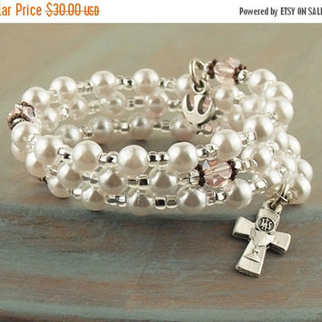 On Sale White Pearl Wrap Rosary Bracelet Dove Charm Communion Cross Prayer Beads Fits Girls First Holy Communion Gift Flower Girl Gift
