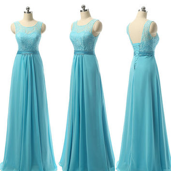 2016 Formal Sky Blue Long Full Length Chiffon Lace Beach Bridesmaid Dresses For Wedding Adult Corset Wedding Guest Dresses