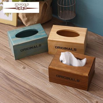 Staygold Hotel Napkin Box Creative Tissue Box Customized Custom Solid Wood Almacenamiento Paper Towel Holder Desk Accessories