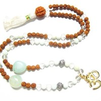 Rudraksha with Clear Crystal Cat's Eye Gem Stone of Ketu Meditation Mala 108+1