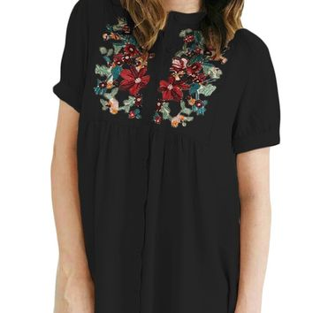 Z| Chicloth Black Floral Embroidered Button up Top