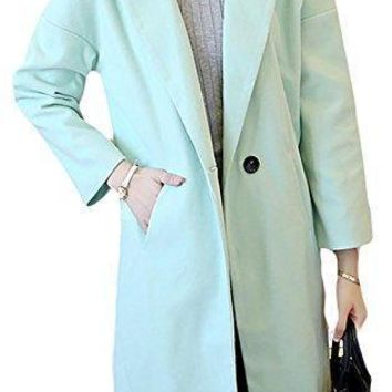 Pandapang Womens Wool Blend Notched Lapel One Button Outdoor Trench Coat