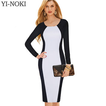 YI-NOKI Sexy Women  Autumn Winter Dress Long-Sleeved sleeve Plus Size Dresses Black White Stitching Retro Office Bodycon Dress