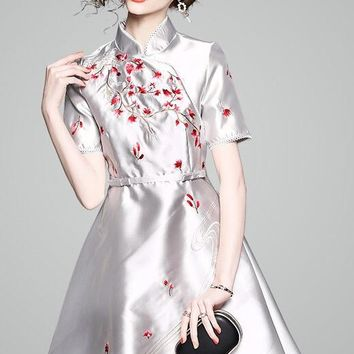 Fit and Flare Embroidered Qipao Dress
