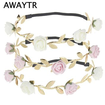 2 Pcs/Lot Flower Crown Hippie Headband Boho Girls Hair Wreath 2017 Kids Gold Leaves Headbands New Foam Flower Elastic Band