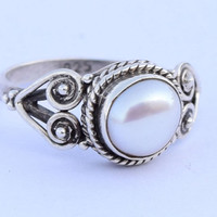 Sea Pearl Ring 925 Sterling Silver Ring Silver Sea Pearl Gemstone Ring Stone Ring Size US 5 6 7 8 9 10 11 12