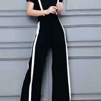 Women's Leisure Fashion Loose Colorblock Round Neck Top Wide Leg Pants Casual Outfit Two-Piece Set