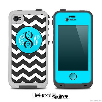 The Black & White Chevron Pattern with Blue Monogram Skin V2 for the iPhone 4-4s or 5 LifeProof Case