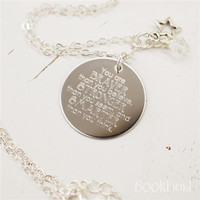 "You are braver than you believe Winnie the Pooh --- engraved 1"" charm necklace"