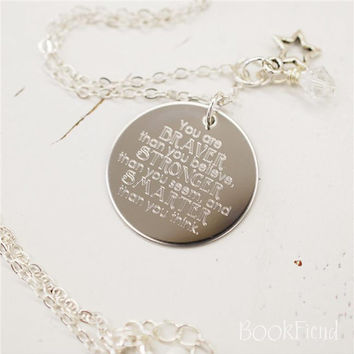 """You are braver than you believe Winnie the Pooh --- engraved 1"""" charm necklace"""