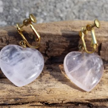 Rose quartz carved heart clip on hinged screw back vintage earrings