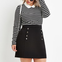 Plus Size Stripe Collared Top