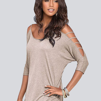 Fashion Strapless 3/4 Sleeve Hollow  Cold Shoulder T-shirt