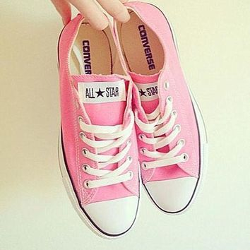 LMFUG7 Converse' Fashion Canvas Flats Sneakers Sport Shoes Low tops Pink