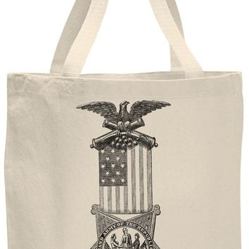 Austin Ink Apparel American Flag Medal Cotton Canvas Tote Bag