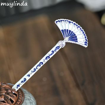 Chinese Blue And White Porcelain Painting Fan Hair Stick Women Costume Classic Metal Charm Hairpins Jewelry