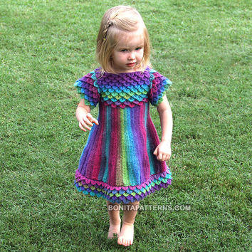 Cyber Monday Sale - CROCHET PATTERN: Crocodile Stitch Girly Dress - Permission to Sell Finished Product
