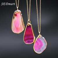 gold plated blue agate sliced Irregular Natural stone necklace pendant GP69