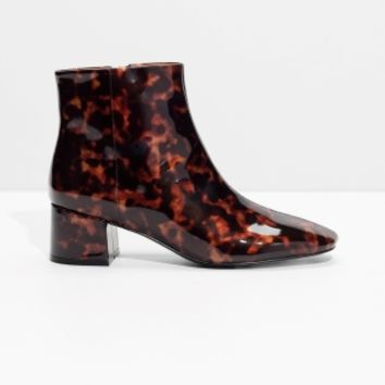 & Other Stories | Patent Leather Ankle Boots | Tortoise