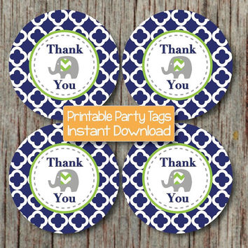 Birthday Thank You Favor Tags Navy Blue Lime Green Quatrefoil Elephant Printable Thank You Labels diy Baby Shower INSTANT DOWNLOAD - 185