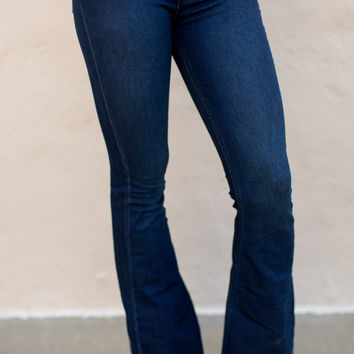 Free People Penny Pull On Flares - Rich Blue