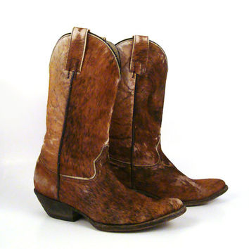 Brown Cowboy Boots Vintage 1980s Distressed Pony Fur Men's size 6 1/2