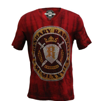 Rawyalty Couture Men's Full Bling Crest Tee Shirt Burgandy