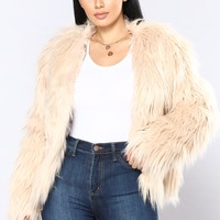 In Touch Faux Fur Jacket - Champagne