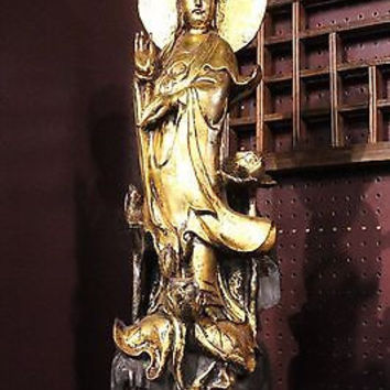 Beautiful Vintage Wooden Hand Carved Kwan Yin Quan Yin Statue Figurine 27""
