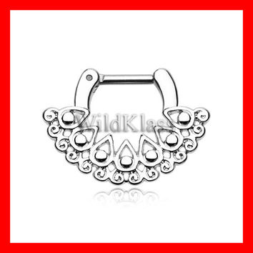 Septum Clicker Arioso Filigree 16g 14g Septum Ring Earring Cartilage Piercing Tragus Ring Helix Conch Nose Belly Nipple