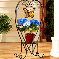 Plant Stand Heart Shape Metal Scroll Charm Butterfly Sunflower Soleil Planter