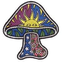 Mushroom W/ Sun Stars Daisy Hippie Embroidered iron on Patch