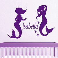 Name Wall Decal Girl Personalized Name Stickers Mermaid Vinyl Decals Art Mural Home Bedroom Decor Interior Design Baby Nursery Decor KY20