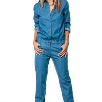 Beyonce Long Sleeve Denim Jumpsuit @ Cicihot Top Shirt Clothing Online Store: Dress Shirt,Sexy Womens Shirt,T Shirts,Corset Dress,White T Shirt,Girl T Shirt,Short sleeve top