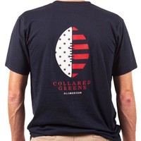 American Made Football Tee in Navy by Collared Greens
