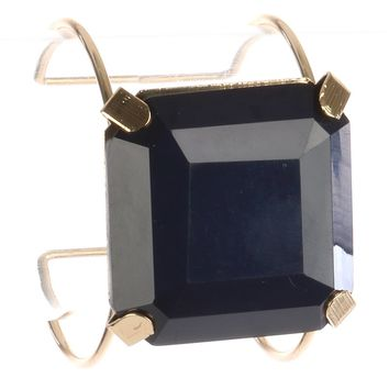 Navy Blue Cushion Cut Lucite Stone Metal Wire Cuff Bracelet