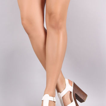 Caged Faux Wooden Platform Chunky Heel
