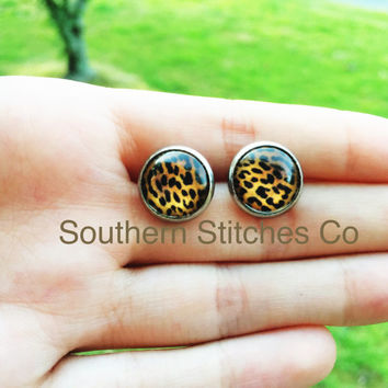 Leopard Print Earrings Animal Print Stud Earrings Boho Earrings 12MM Glass Earrings Animal Print Jewelry
