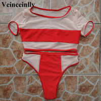 2017 hot mesh splicing sheer bikini set high waist swimsuit two pieces swimwear women bathing suit swim wear female biquini V158