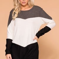 Izzy Charcoal Colorblock Top