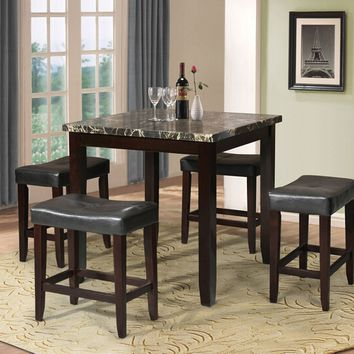 Acme 70728 5 pc ainsley square black faux marble espresso finish wood counter height dining table set