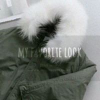 White Fur-Trimmed Hood Padded Coat
