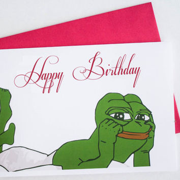 Birthday Card Sexy Pepe Rare  Funny Card College Geek Happy Birthday Card PERSONALIZED