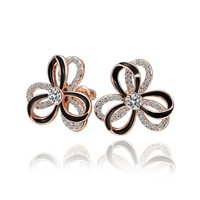 18K Rose Gold Plated Crystal and Black Enamel Double Layered Flower Stud Earrings