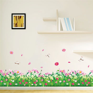 Garden Colorful DIY Flower Floral Home Decor Grass dragonfly Wall Stickers 3d Wall Decals TV Home decoration